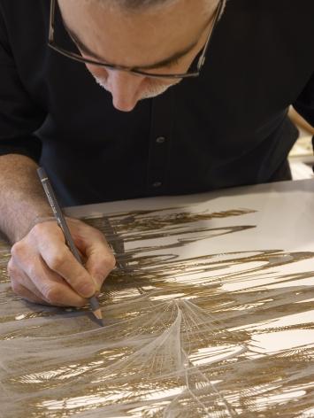 Gustavo Díaz in his Houston studio, 2020.