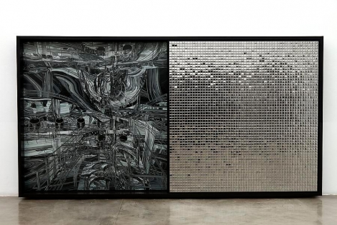 Ana Maria Tavares, Desviante Double, Dia L, 2011. From the series Hieróglifos Sociais. Aluminum, compound aluminum, colored and silver stainless steel, digital printing, and electrostatic painting. 152 cm x 283 cm x 18 cm.