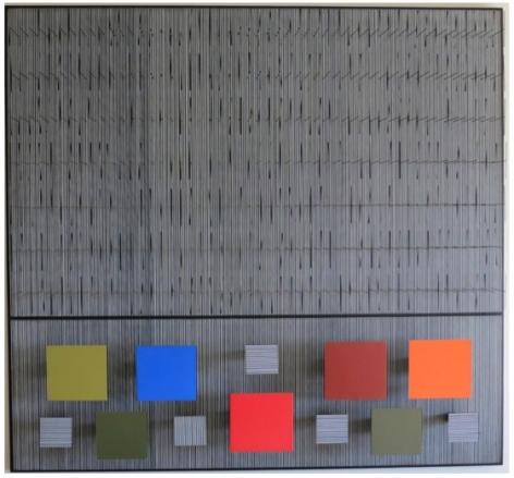 Jesús Rafael Soto, Tes Negra y Color, 1993, Acrylic, metal, wood,52 5/16 x 52 5/16 x 5 7/8 in. (133 x 133 x 15 cm.)