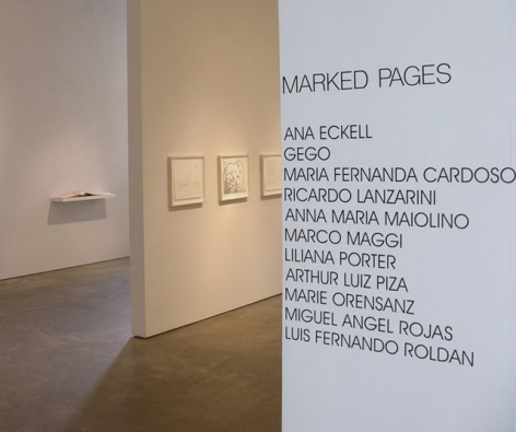 Ana Eckell, Gego, Maria Fernanda Cardoso, Ricardo Lanzarini, Ana María Maiolino, Marco Maggi, Liliana Porter, Arthur Luiz Piza, Marie Orensanz, Miguel Angel Rojas, Luis Fernando Roldán, Marked Pages, Sicardi Gallery installation view, 2006