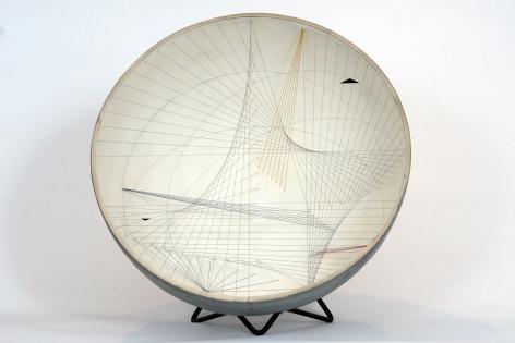 Gregorio Vardanega, Développement d'un carré dans le nombre d'or [Alternative title: Spirales Spatiales blanche], 1954-60. Metal, wire, Plexiglas, 27 5/8 x 15 3/4 in. (70.2 x 40 cm.)