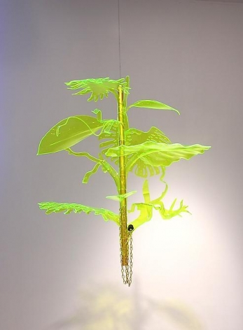 Thomas Glassford, Afterglow Hybrid Pendant 3, 2010. Plexiglas, anodized aluminum, 39 in. x 36 in.