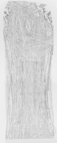 La ventana de Deleuze, 2018. Cut out paper. 93 1/4 x 38 1/2 x 1 3/4 in. (236.9 x 97.8 x 4.4 cm.)