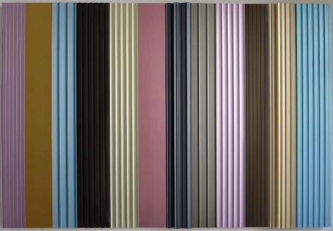 Thomas Glassford, Sherbert Stripe Partitura, 2003. Anodized aluminum, 39.4 in. x 59.1 in. x 2.8 in.