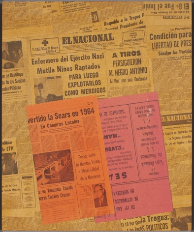 """Alejandro Otero, C-3, from the series """"Papeles coloreados"""" [Colored Papers], 1965. Collage. Dyed newspaper clips on wood, 28 11/16 x 23 13/16 in."""