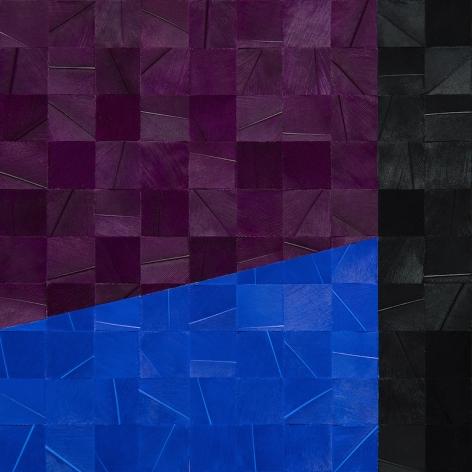 Gabriel de la Mora, 943 I, 2020. Pigmented turkey feathers on museum cardboard, 16 7/8 x 16 7/8 x 1 9/16 in. (43 x 43 x 4 cm.)