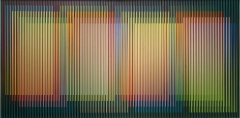 Carlos Cruz-Diez, Physichromie Panam 218, 2015. Chromography on aluminum modules with PVC inserts and aluminum frame, 78 3/4 x 157 1/2 in. / 200 x 400 cm.