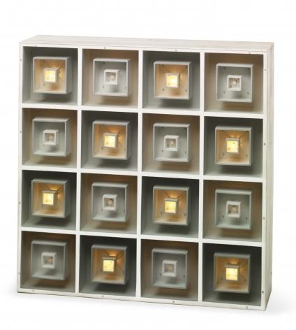 Gregorio Vardanega, Multiplication Electonique III [Editionof 2], 1966. Wood, Plexiglas, bulbs, and motor, 35 1/4 x 35 1/4 x 10 in. (89.5 x 89.5 x 25.5 cm.)
