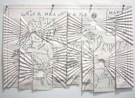 Miguel Angel Ríos, Critica Post-colonial #5, 1993. Photo-print, ink on pleated paper and push pins, 24 in. x 16 1/2 in.