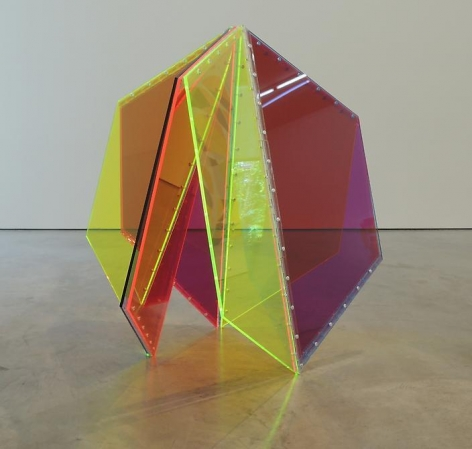 Marta Chilindron, 9 Trapezoids, 2014. Acrylic, 72 in. overall, 30 in. high