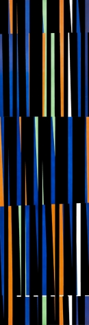 Alejandro Otero, Coloritmo 44A [Colorhythm 44A], 1971. Industrial enamel on wood, 70 13/16 x 19 7/16 in. (180 x 49.5 cm.)