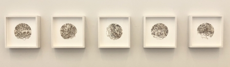 Gustavo Díaz, Not yet titled [polyptych], 2019. Cut paper & color pencil, 9 5/8 x 9 5/8 x 2 in. each.