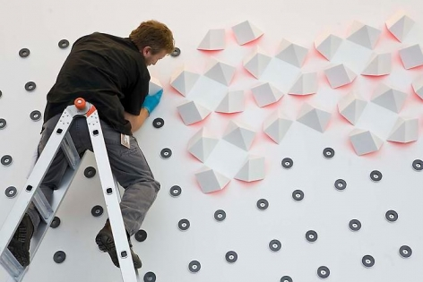 Luis Tomasello, Atmosphere Chromoplastique, 2011, Bloch Building, The Nelson-Atkins Museum of Art (during installation)