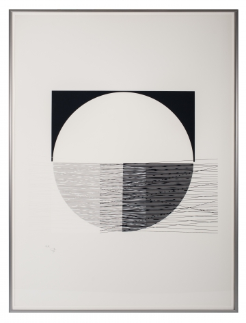 Jesús Rafael Soto,Medio círculo blanco, Série Araya, E.A. (Edition of 100), 1974, Serigraph,30 3/8 x 22 1/2 in. (77.2 x 57 cm.)