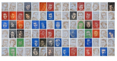 "Pedro Tyler, Darkening the Light, 2012, Bas-relief, wooden rulers, 77"" x 164"""