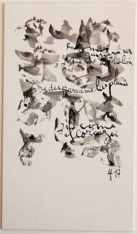 León Ferrari, Untitled, 1997. Ink and watercolor on paper, 7 13/16 x 4 9/16in. / 19.8 x 11.5 cm.