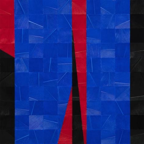 Gabriel de la Mora, 992 II (detail), 2020. Pigmented turkey feathers on museum cardboard, 16 7/8 x 16 7/8 x 1 9/16 in. (43 x 43 x 4 cm.)