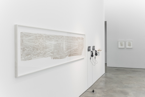 Installation view of Gustavo Diaz's 2018 exhibition Fuzziness: Thinking on Paper at Sicardi | Ayers | Bacino.