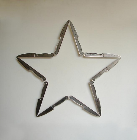 Pedro Tyler, Oscura Luz (Dark Light), 2010. Stainless steel rulers and acrylic, 22 in. x 22 in.