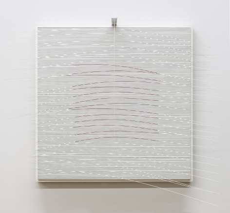 Jesús Rafael Soto, Carré Rose, 1992. Paint, wood, metal, and nylon, 24 3/8 x 31 1/2 x 11 in. with extensions