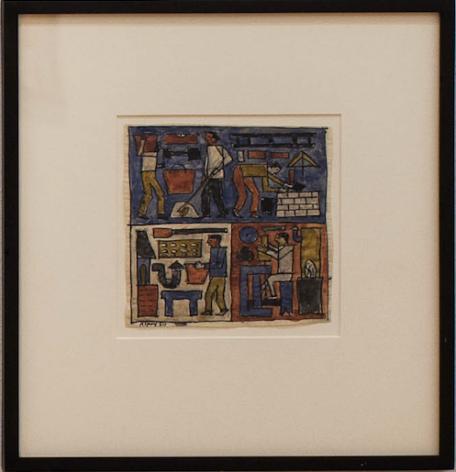 Julio Alpuy,  L'Artisanat (Tres oficios), 1950. Ink and watercolor on paper, 6 5/8 x 6 3/4 in. / 16.6 x 17 cm.