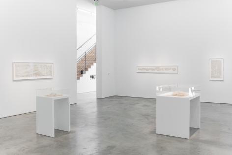 Installation view of Gustavo Diaz's 2018 exhibitionFuzziness: Thinking on Paperat Sicardi | Ayers | Bacino.