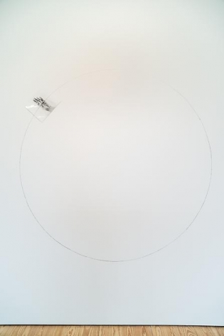 Liliana Porter, Untitled (Circle Mural) II, 1973-1974. Wall installation of original laminated photograph and graphite on wall, 70 in. in diameter.