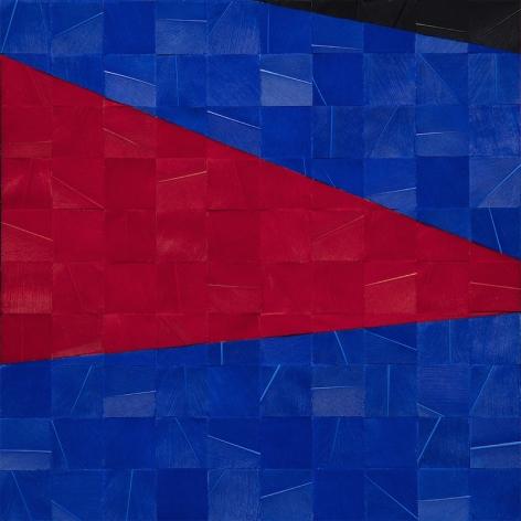 Gabriel de la Mora, 1,205 II (detail), 2020. Pigmented turkey feathers on museum cardboard, 16 7/8 x 16 7/8 x 1 9/16 in. (43 x 43 x 4 cm.)