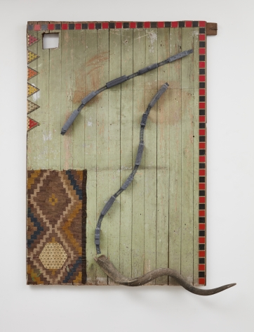 Untitled, kilim, kudu horn, train, gameboards, wood, 2016