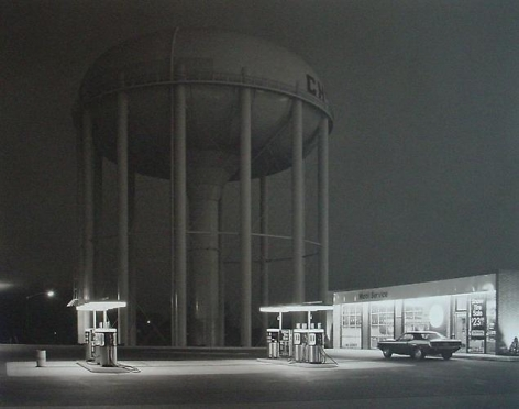 George Tice. Petit's Mobil Station. Cherry Hill, NJ.