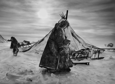 Nenets, An Indigenous Nomadic People, Whose Main Subsistene Come From Reindeer Herding, South Yamal Region, Siberia, Russia (Mother and Child Bundled). 2011