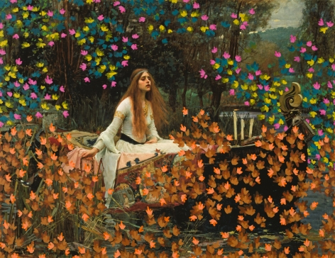 Untitled (Lady of Shalott by John William Waterhouse, 1888), 2017, 29.75 x 39 inches