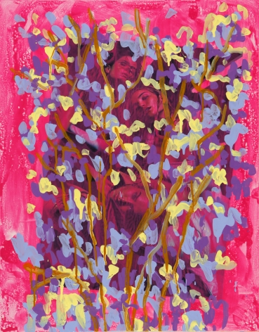 Untitled, 2015, Acrylic, Urethane, and Magazine Page on Canvas