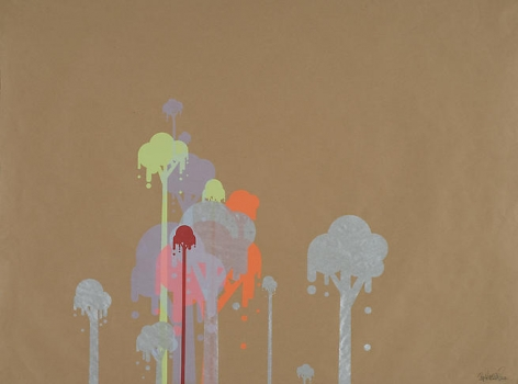 Ryan McGinness, Untitled 1 (Ice Cream Trees), 2007, 39 x 50 in.