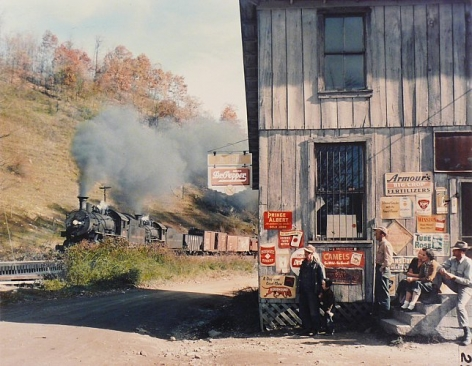 Train 202 at Husk, NC, 1955