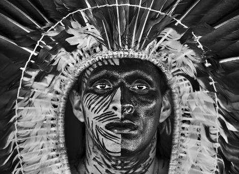 Adão Yawnawá In A Headress Of Eagle Feathers, Village Of Nova Esperança Rio Gregório Indigenous Territory, State of Acre, Brazil. 2016