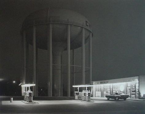 Georce Tice. Petit's Mobil Station.  1974 / printed 2010.  Platinum palladium print.  30 x 40 inches.