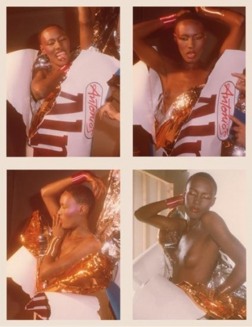 Grace Jones. 1977, 	Four 4.5 x 3.25 inch unique vintage Kodak prints