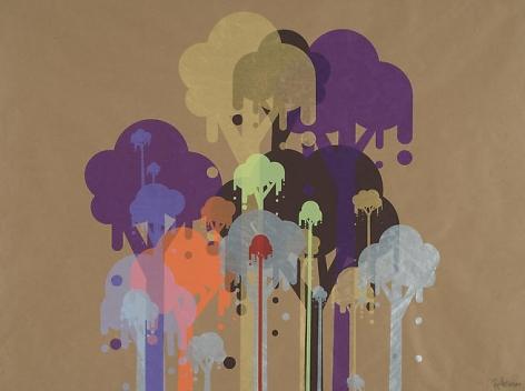 Ryan McGinness, Untitled 9 (Ice Cream Trees), 2007, 39 x 50 in.