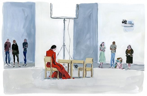 Jean-Philippe Delhomme. Marina Abramović at MoMA.  2010.  Gouache on paper.  11 x 15 inches.
