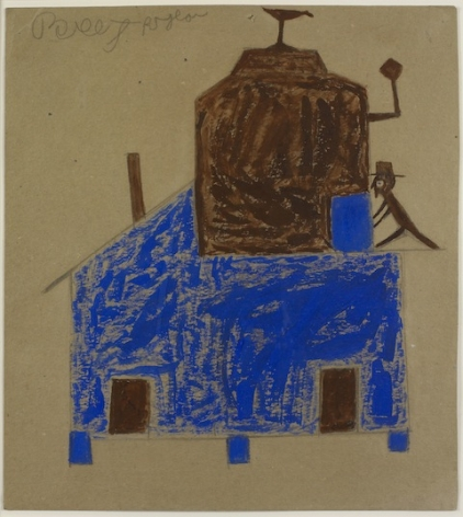 Bill Traylor Untitled (Blue and Brown House with Chimneys), ca. 1939-1942