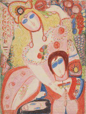 Aloïse Corbaz Mythe Atalante lance des pommes d'or, 1946