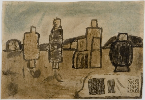 James Castle Untitled (Landscape with building figures), n.d.