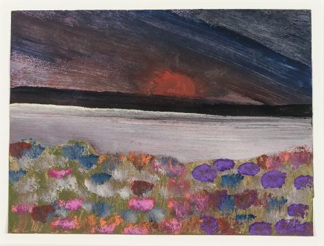 Frank Walter Dark Sky with Blooming Flowers
