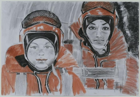 "ALEXEY KALLIMA From the series ""Chechen Women's Team of Parachute Jumping and Its Virtual Fans"", 2008"