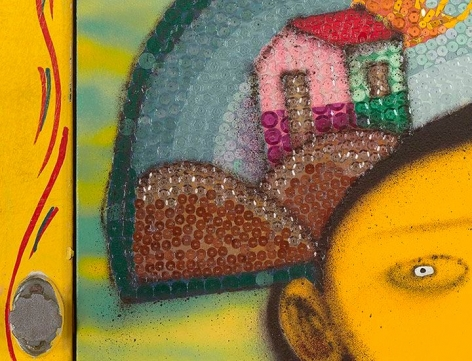 OSGEMEOS É hora de dançar break (It's time for some break dance) (detail), 2015
