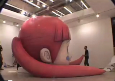 "Mr., Installing ""Strawberry Voice"" at Lehmann Maupin Gallery 2007"