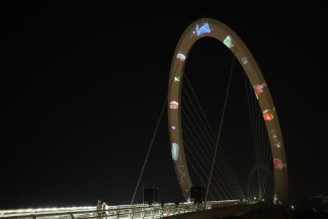 Current, Installation view,Nanjing Eye Pedestrian Bridge, Nanjing, China, 2019