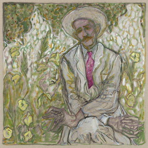 BILLY CHILDISH, man sat with crossed arms, 2019