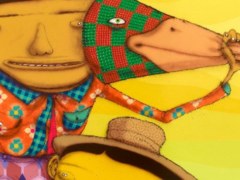 OSGEMEOS O Pato Rei (The King Duck) (detail), 2016